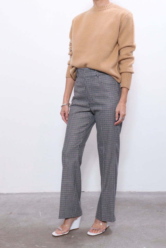 RE/DONE 70s Trouser in Cream Navy Plaid