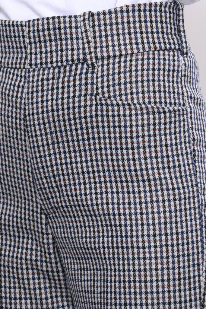 RE/DONE 70s Trouser in Cream Navy Plaid Bottoms RE/DONE