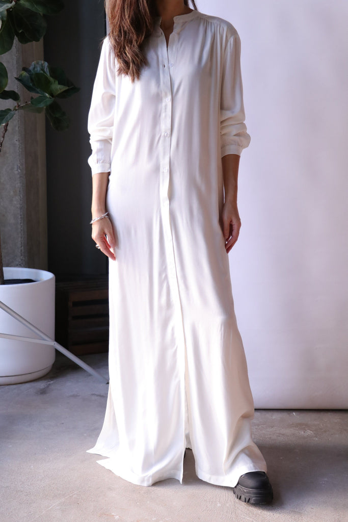 Rodebjer Art Shirt Dress in White Dresses Rodebjer