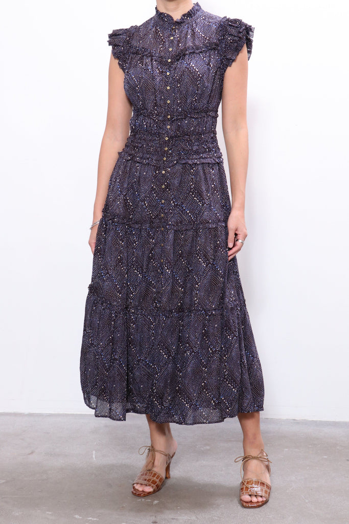 Ulla Johnson Rosalind Dress in Indigo Diamond