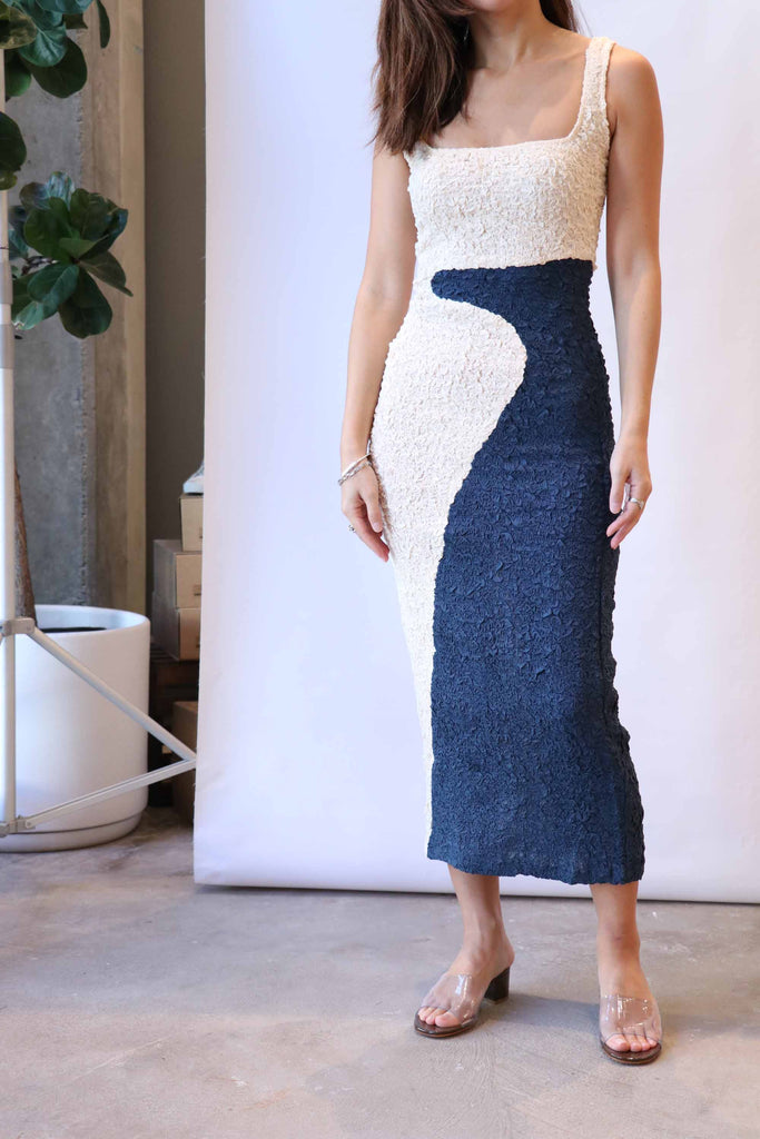 Mara Hoffman Sloan Dress in Cream and Navy
