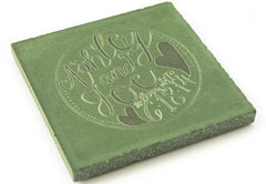 A personalized concrete beverage coaster in a greenish-grey color.