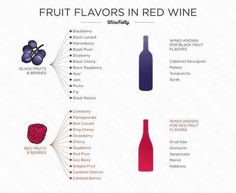 An image describing the fruit flavors commonly present in red wine.