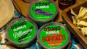 Three different types of hummus from the brand O'Dang.