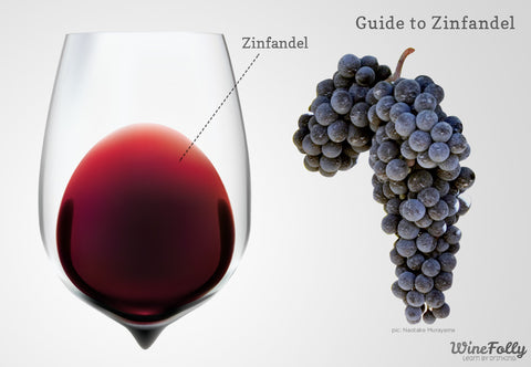 An infographic describing the color of zinfandel wine and grapes.