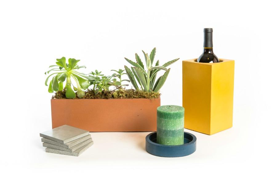 Wine thermal, concrete planter, concrete coasters