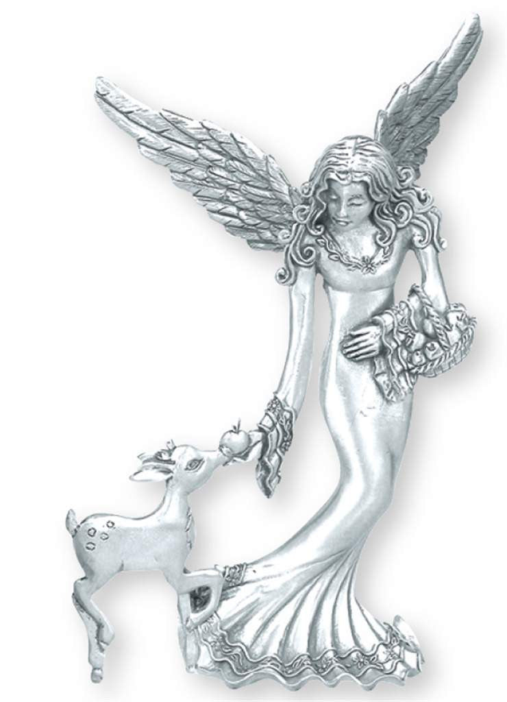 Angel W/ Fawn Standing Ornament SO-46