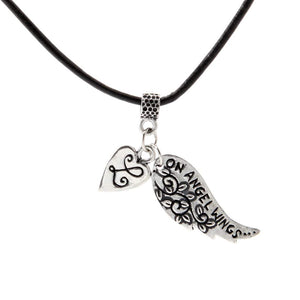 Angel Wings Pendant w/ Blk Leather PD-111