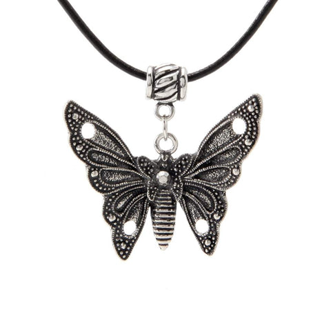 Butterfly Pendant Black Leather