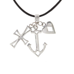 Faith/Hope/Love Pendant w/Blk Leather PD-109