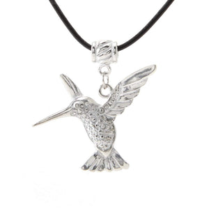 Hummingbird Pendant Blk Leather