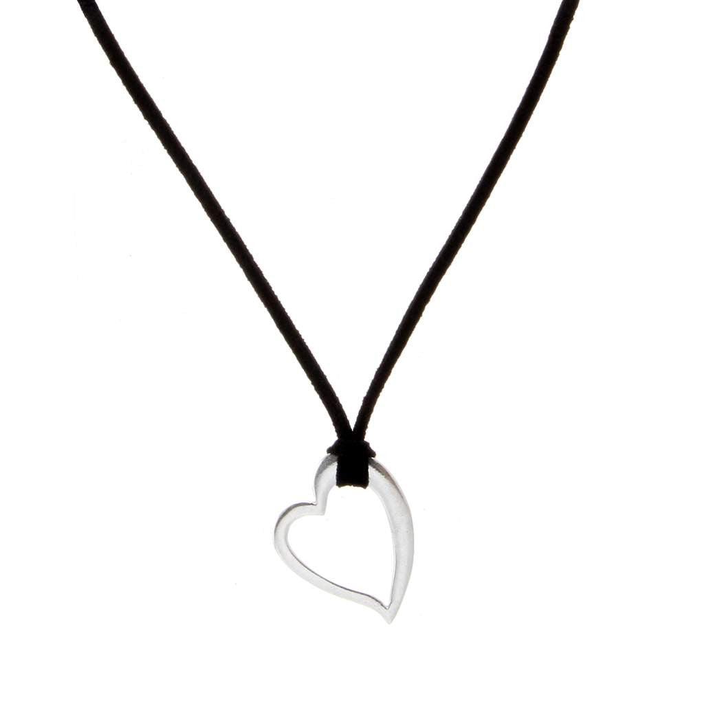 Plain Heart Pendant Suede PD-154