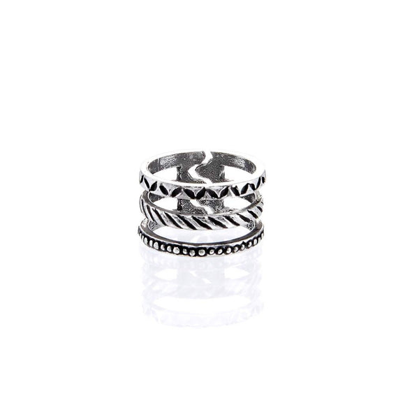 Leaves/Rope/Dots Stacked Ring R018