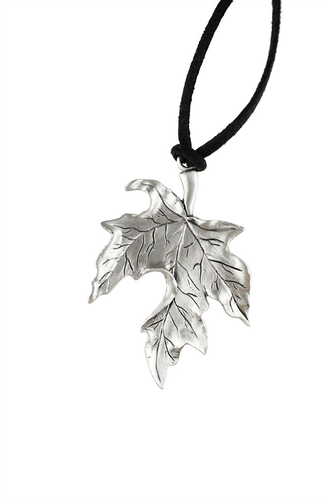 sterling leaf store silver pendant maple