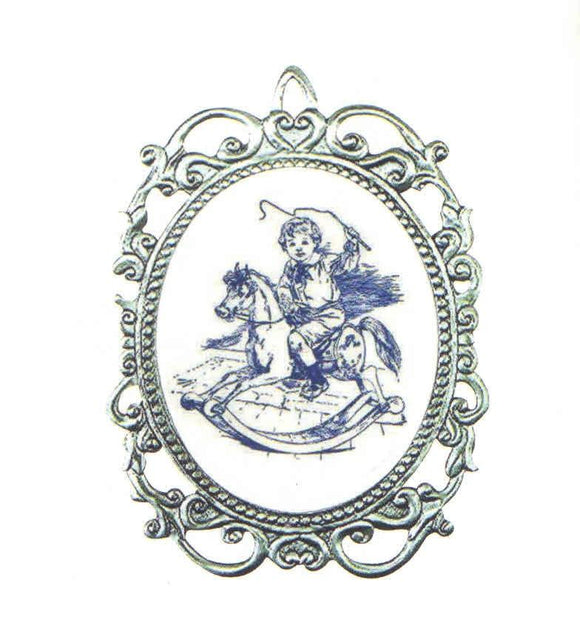 Boy/Rocking Horse Cameo Orn SC-6003