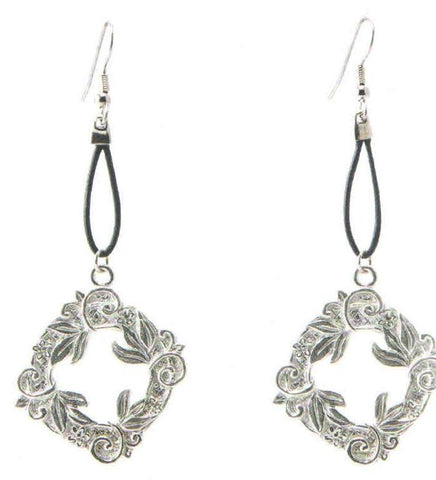 Wreath Earrings Leather Bright