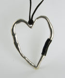 Heart w/ Leather Lg Pendant P043