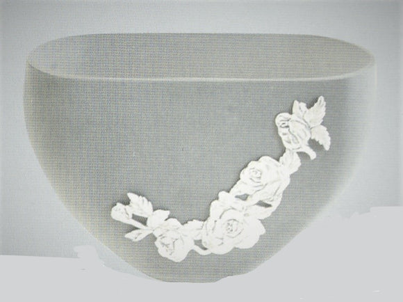 White Frosted Rose Vase VA-129