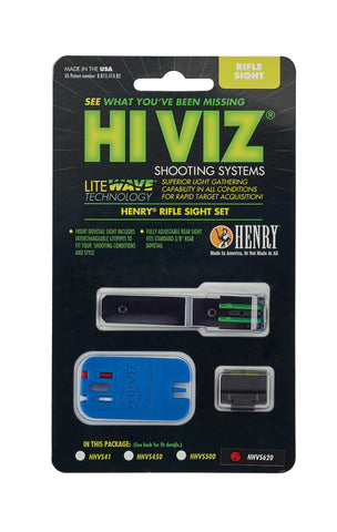 HIVIZ LIGHTWAVE Henry Adjustable Rifle Sight Set HHVS620 For H009 Series .30/30 Round Bbl