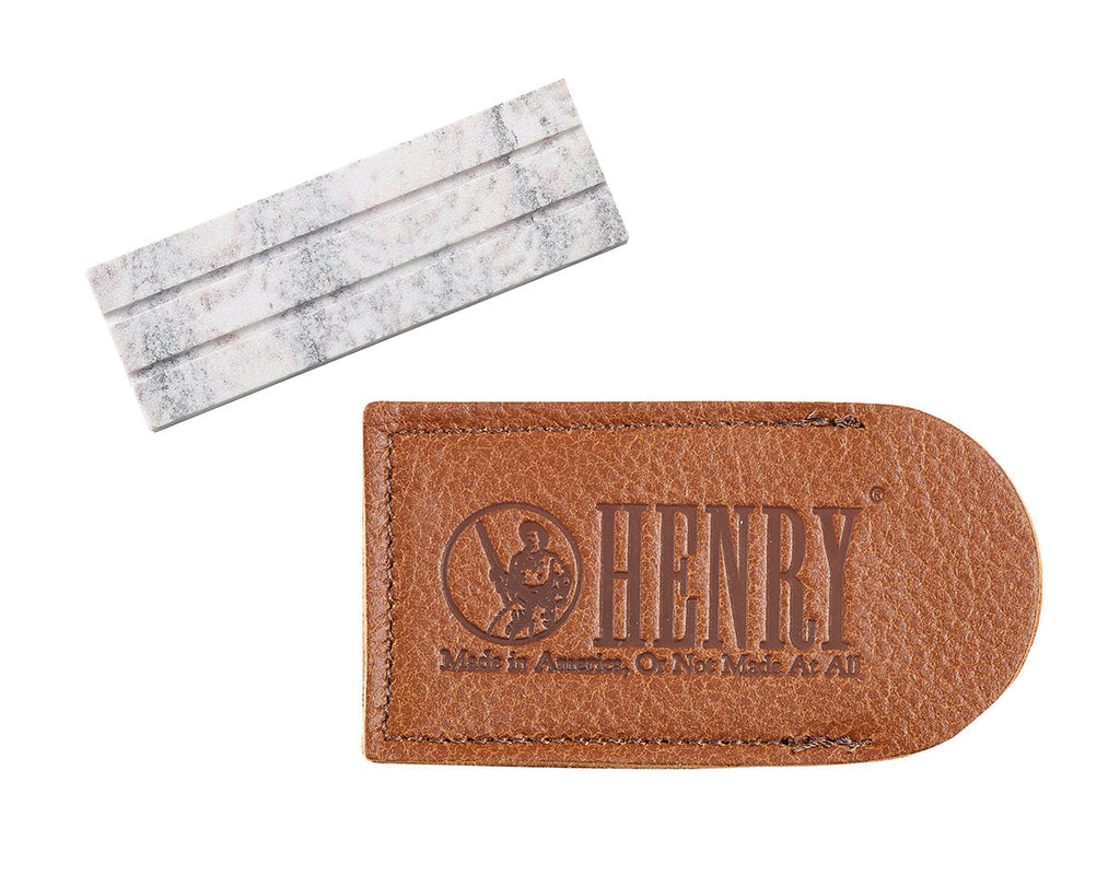Henry Lansky Arkansas Pocket Stone with Leather Pouch