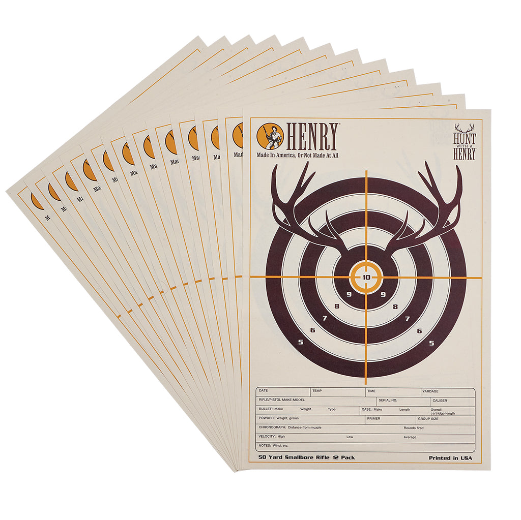 Hunt With A Henry 50 Yard Smallbore Rifle Targets(12pk)