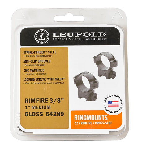 "Leupold Rimfire Medium Rings 3/8"" Groove in Blue or NEW Color Case Hardened!"