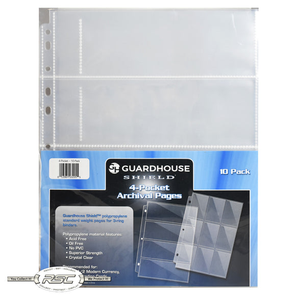 4-Pocket Archival Pages for Fractional & Small Paper Currency - Pack of 10