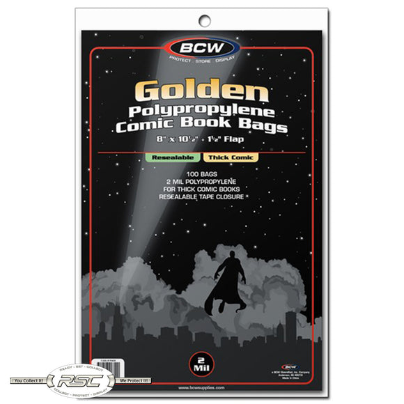 Golden Age Thick Resealable 2-Mil Polypropylene Comic Bags
