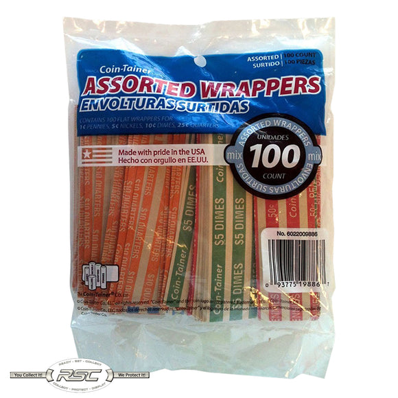 Coin-Tainer Assorted Flat Coin Wrappers (100) for Penny, Nickel, Dime & Quarter!