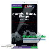 Regular / Silver Resealable 2-Mil Polypropylene Comic Bags