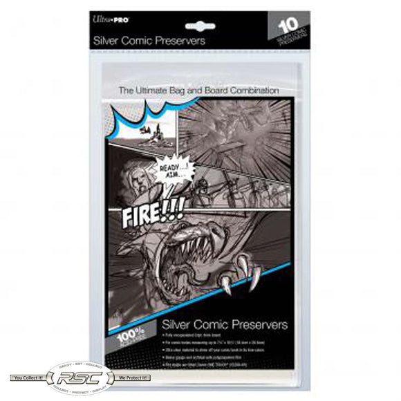 Silver Comic Preserver - Ultra Clear Bag & 24pt. Board Combo - Pack of 10
