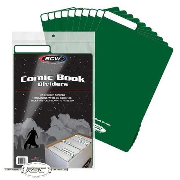 Green Plastic Comic Book Dividers
