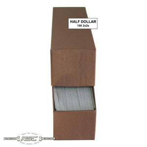 2x2 Paper Flips and Brown Storage Box for Half Dollars