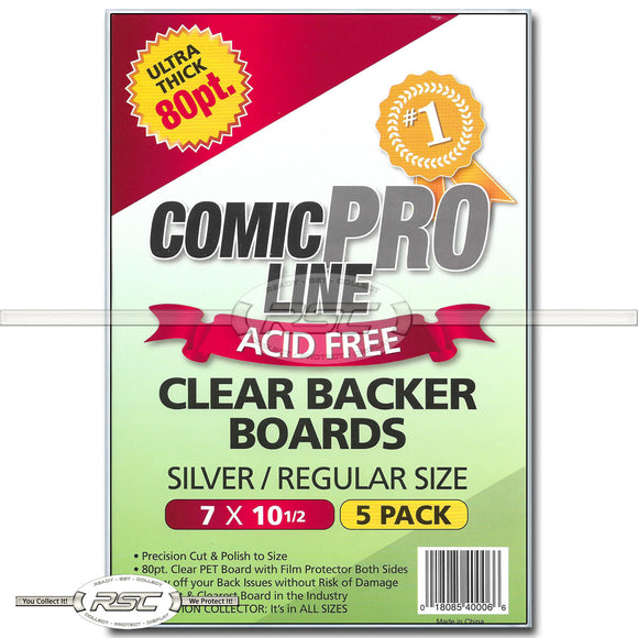 Silver / Regular 80pt Clear Backer Boards