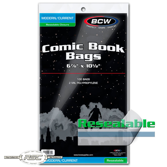 Modern / Current Resealable 2-Mil Polypropylene Comic Bags