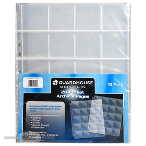 20-Pocket Archival Polypropylene Pages for 2x2 Coin Flips - Pack of 10