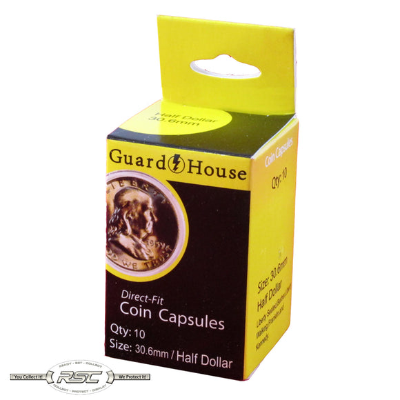 Direct Fit Capsules for Half Dollars - Pack of 10