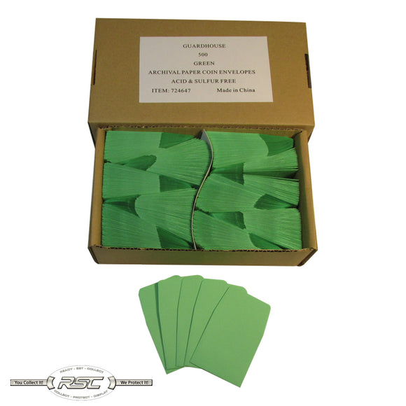 Green Archival Paper Coin Envelopes - Case of 500