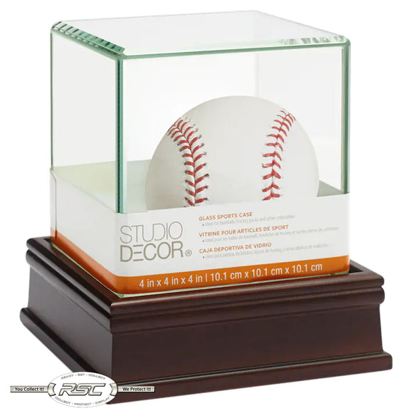 Premium Glass Baseball Display Case w/Wooden Base