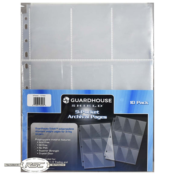 9-Pocket Archival Pages for Trading Cards - Pack of 10