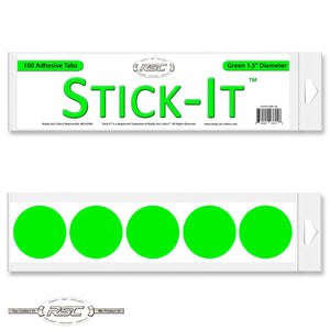 Stick-It™ Green Resealable Adhesive Tabs - Pack of 100