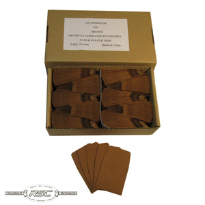 Brown Archival Paper Coin Envelopes - Case of 500