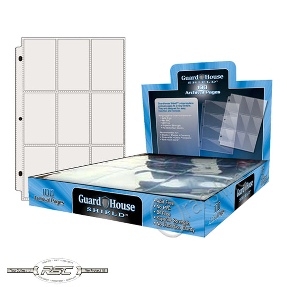 9-Pocket Archival Pages for Trading Cards - Box of 100