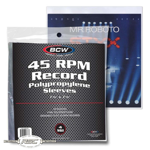45 RPM Record 4-Mil Polypropylene Sleeves