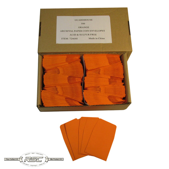 Orange Archival Paper Coin Envelopes - Case of 500