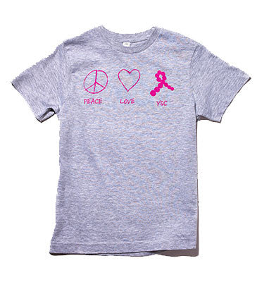 Peace, Love, YSC Youth Tee Grey
