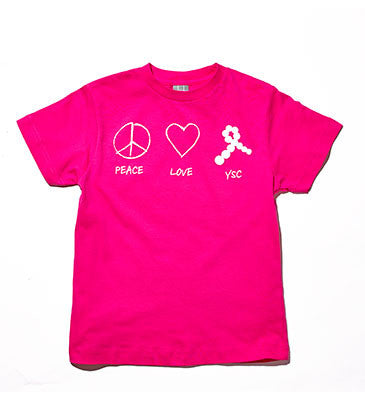 Peace, Love, YSC Youth Tee Hot Pink