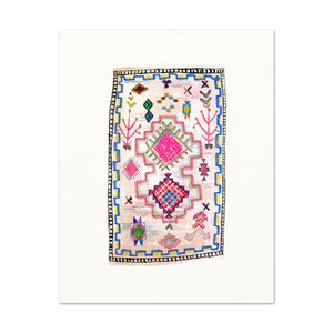 Boho Art Print. Bohemian Decor. Pink Vintage Rug Watercolor Artwork.
