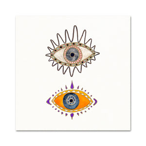 Boho Art Print. Orange Evil Eye Decor. Minimalist Artwork.