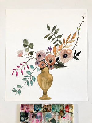 "Arrangement No. 1 - 16""x18"" on Cold Press Watercolor Paper"